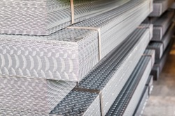 Steel checker plate at factory in Thailand Asia