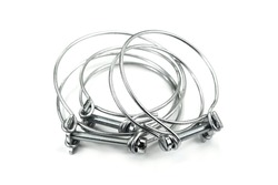 Steel clamps isolated on white background. Screw clamp. Hose clamps.