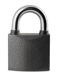 Steel closed padlock isolated on white