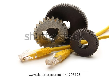 Steel cogwheels and ethernet cable