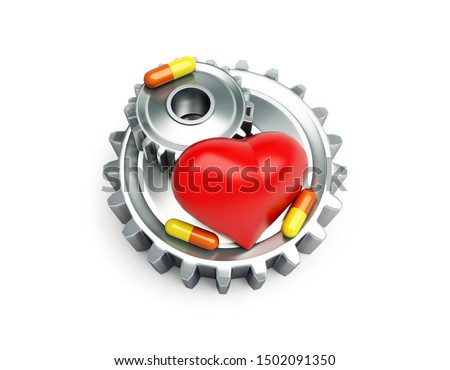 Steel cogwheels and red heart and pills on a white background 3D illustration