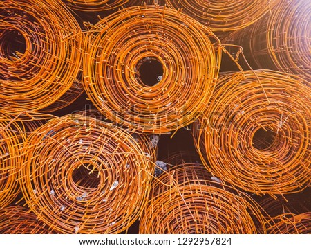 Steel coil rust For the structure in the construction work, Stack of the metal rusty reinforcement bars. #1292957824
