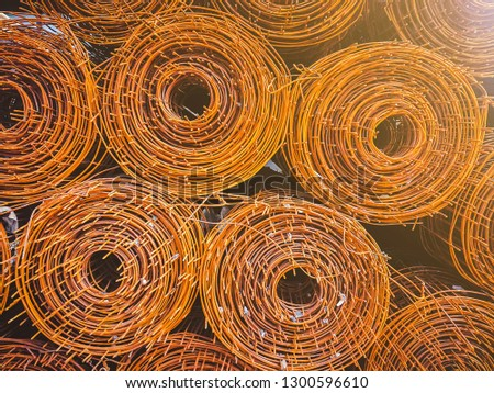 Steel coil rust For the structure in the construction work, Stack of the metal rusty reinforcement bars. #1300596610