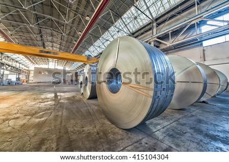 Steel coils inside a factory.