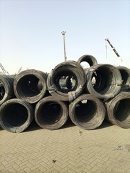 Steel coils stacked at port berth  - Karachi Pakistan - Apr 2021