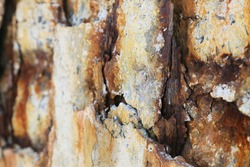 Steel corrosion in reinforced concrete. Reinforced concrete with damaged and rusty steel bar in marine and other chloride environments. Degraded concrete and corrosion of reinforcement bars