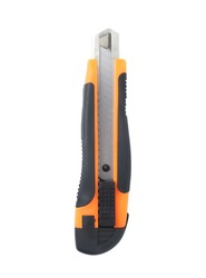 Steel Cutter Knife, Orange Rubber Handle Used for cutting things. Isolated on a white background with a clipping path.