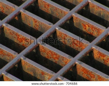 Steel Drainage Grate In Parking Lot Stock Photo 704686