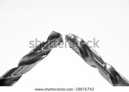Steel drills HSS (High Speed Steel) on a white background