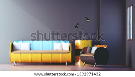 Steel Drum Furniture in Loft Room Design, Living room, Minimal, 3D Rendering
