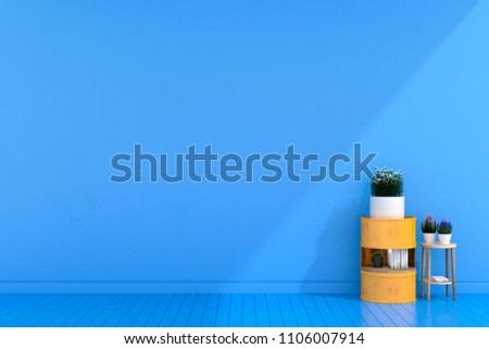 Steel Drum Furniture in Loft Room Design, Minimal, 3D Rendering #1106007914