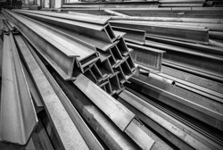 Steel factory floor, stacked with a lot of steel