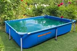 Steel frame pool  on a country site