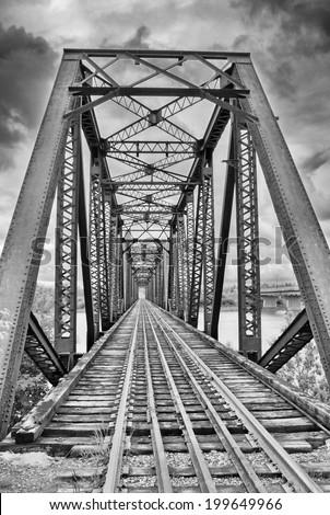 Steel framed railroad trestle