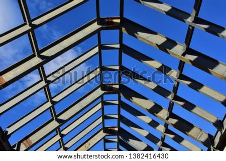 Steel framework of commercial building construction.