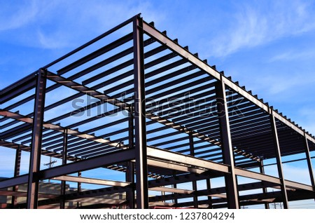 Steel framework of commercial building under construction.