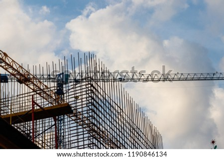 Steel frameworks of building under construction