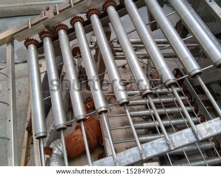Steel from machinery in  factory