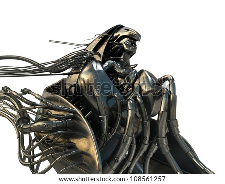 Steel futuristic wired angel in steam punk style / Golden wired Archangel