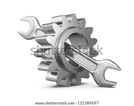 steel gear and wrench tool on a white background. 3d illustration