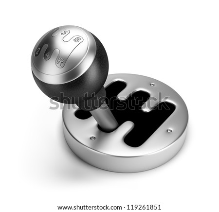 steel gearshift. 3d image. Isolated white background.