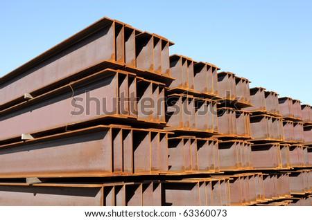 Steel girder - stock photo