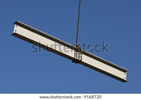 Steel girder on a construction site stock photo