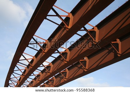 steel girders of highway overpass under construction