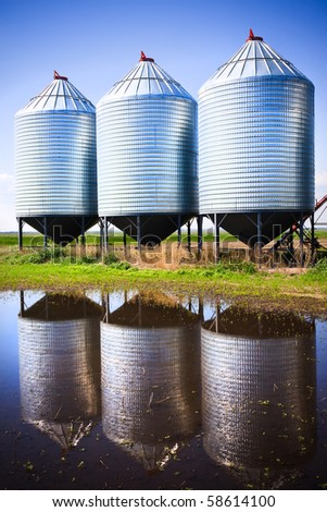 Steel grain silos used to store grain. - stock photo