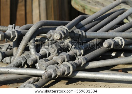 Steel grating and outdoor galvanized steel equipment at outdoor switch-gear site construction. #359831534