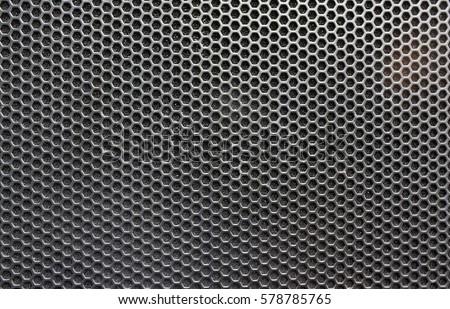 Steel grating of loudspeaker ,full frame black grid of a speaker texture #578785765
