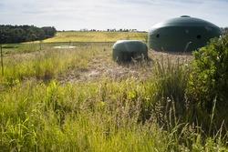 Steel green bunker domes. World War II fortifications.