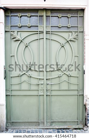 steel green door. vintage.