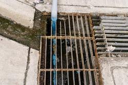 Steel grille of Waste drain hose waste water.