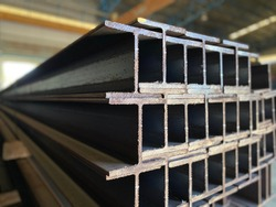 steel h-beam, selective focus, Raw materials used in building construction.