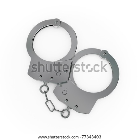 Steel handcuff closeup.Isolated on white background.3d rendered.