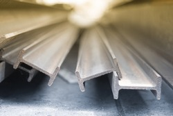 steel i-beam, selective focus, Raw materials used in building construction.
