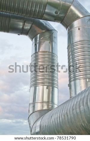 steel industrial pipeline on factory
