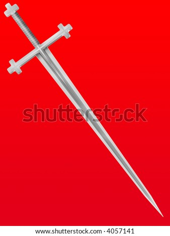 Steel Isolated Sword Crusader With A Cross On The Handle Stock Photo