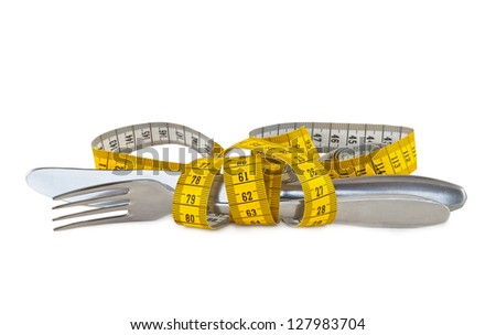 Steel knife and fork tied with measuring tape