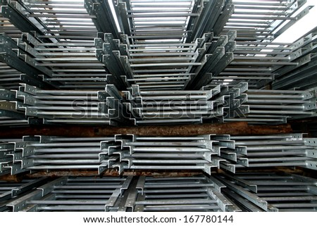 Steel Ladder bunch in warehouse before shipment