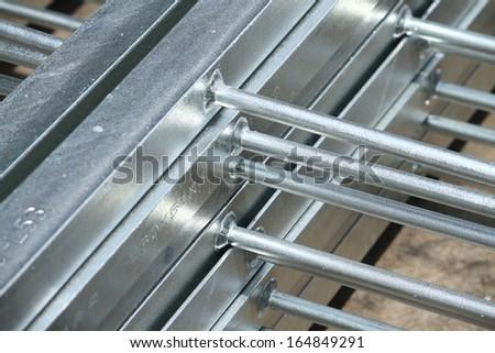 Steel ladders bunch in warehouse before shipment