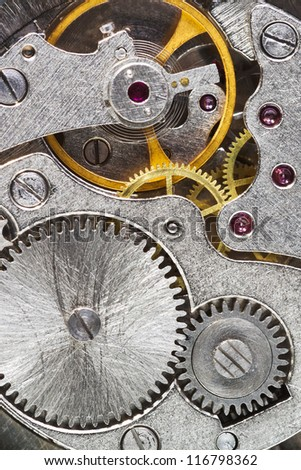 steel machinery of old mechanical watch close up