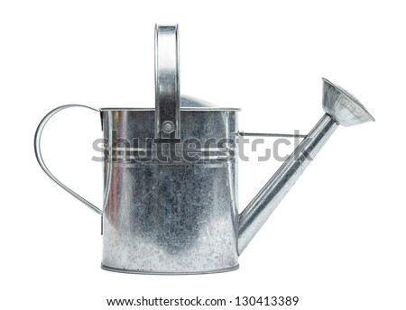 Steel made, silver colored watering can, isolated on white background.