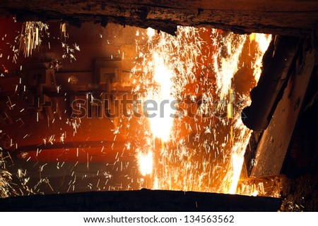 Steel making scenes - steel furnace