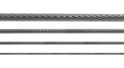 Steel metal hawser set isolated on white background