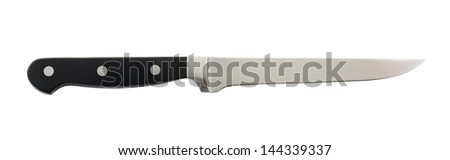 Steel metal kitchen cleaner knife isolated over the white background