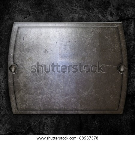 steel metal plate on concrete wall