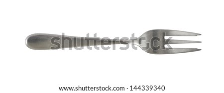 Steel metal small dessert fork isolated over white background