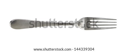 Steel metal table fork isolated over white background
